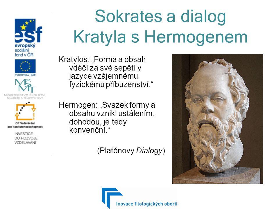 """Sokrates a dialog Kratyla s Hermogenem Kratylos: """"Forma a obsah vděčí za své sepětí v jazyce vzájemnému fyzickému příbuzenství. Hermogen: """"Svazek formy a obsahu vznikl ustálením, dohodou, je tedy konvenční. (Platónovy Dialogy)"""