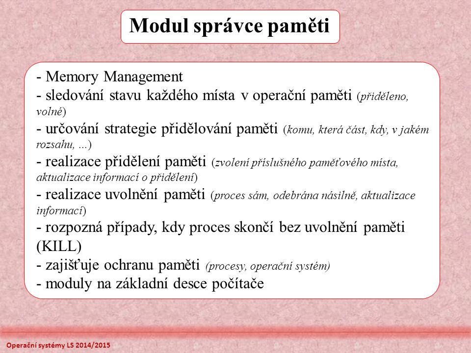 Modul správce paměti - Memory Management - sledování stavu každého místa v operační paměti (přiděleno, volné) - určování strategie přidělování paměti