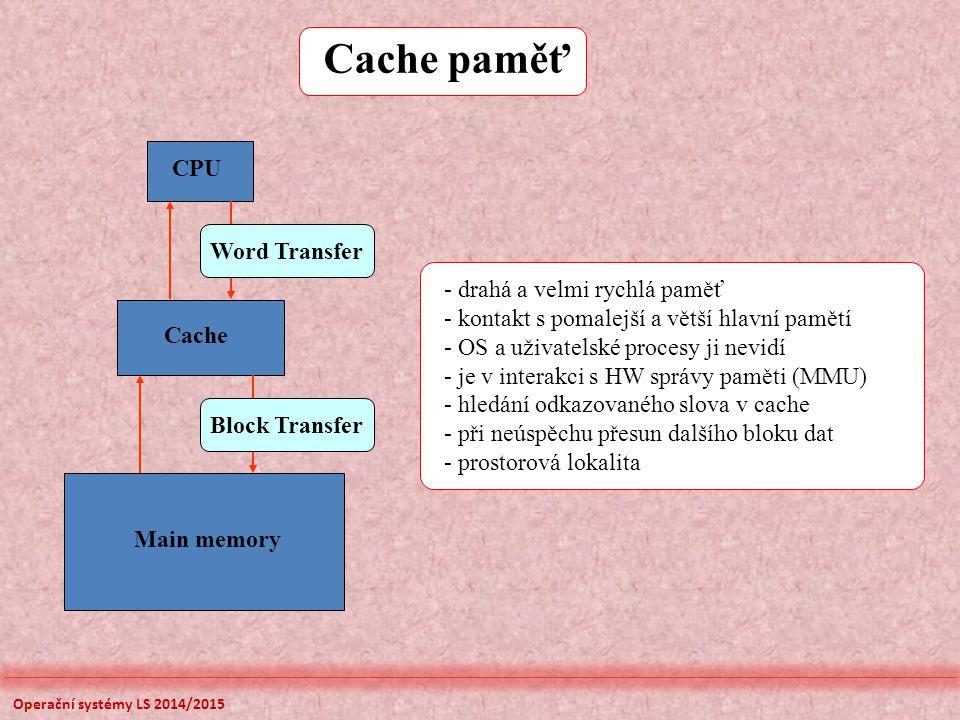 Cache paměť Main memory Cache CPU Block Transfer Word Transfer - drahá a velmi rychlá paměť - kontakt s pomalejší a větší hlavní pamětí - OS a uživate