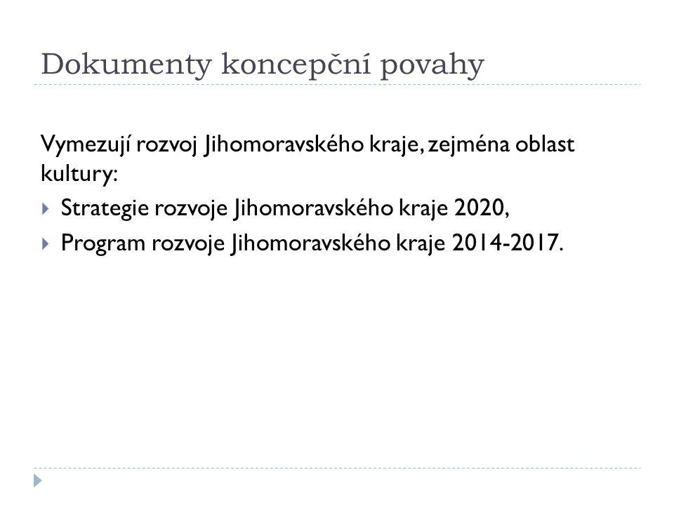 Dokumenty koncepční povahy Vymezují rozvoj Jihomoravského kraje, zejména oblast kultury:  Strategie rozvoje Jihomoravského kraje 2020,  Program rozvoje Jihomoravského kraje 2014-2017.