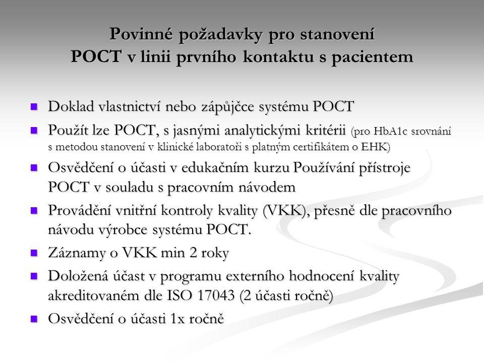 Povinné požadavky pro stanovení POCT v linii prvního kontaktu s pacientem Doklad vlastnictví nebo zápůjčce systému POCT Doklad vlastnictví nebo zápůjč