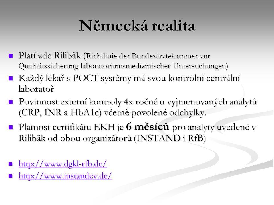 Německá realita Platí zde Rilibäk ( Richtlinie der Bundesärztekammer zur Qualitätssicherung laboratoriumsmedizinischer Untersuchungen) Platí zde Rilib