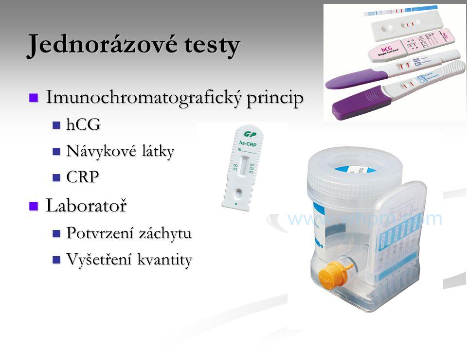 Jednorázové testy Imunochromatografický princip Imunochromatografický princip hCG hCG Návykové látky Návykové látky CRP CRP Laboratoř Laboratoř Potvrz
