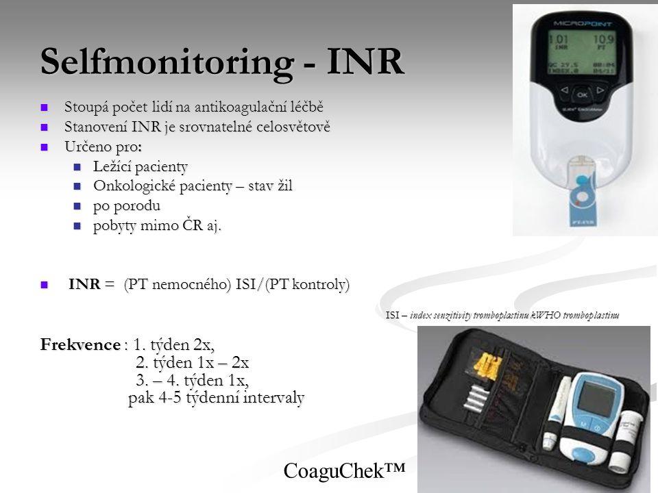 Selfmonitoring - INR Stoupá počet lidí na antikoagulační léčbě Stoupá počet lidí na antikoagulační léčbě Stanovení INR je srovnatelné celosvětově Stan