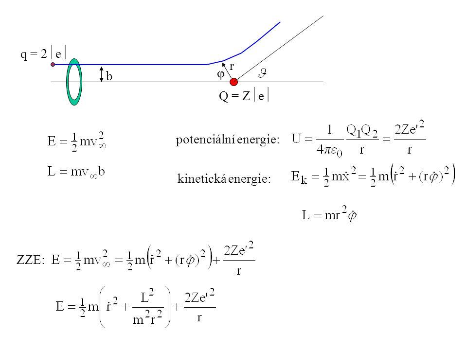 r  b Q = Z  e  q = 2  e  potenciální energie: ZZE: kinetická energie: