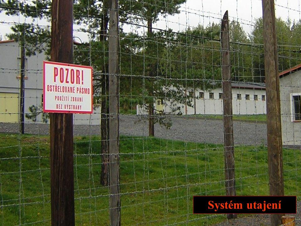 Pracovní tábory a věznice v Československu Černé body – koncentrační tábory v roce 1953: Jáchymov, Příbram a Horní Slavkov Červené body – věznice a pr