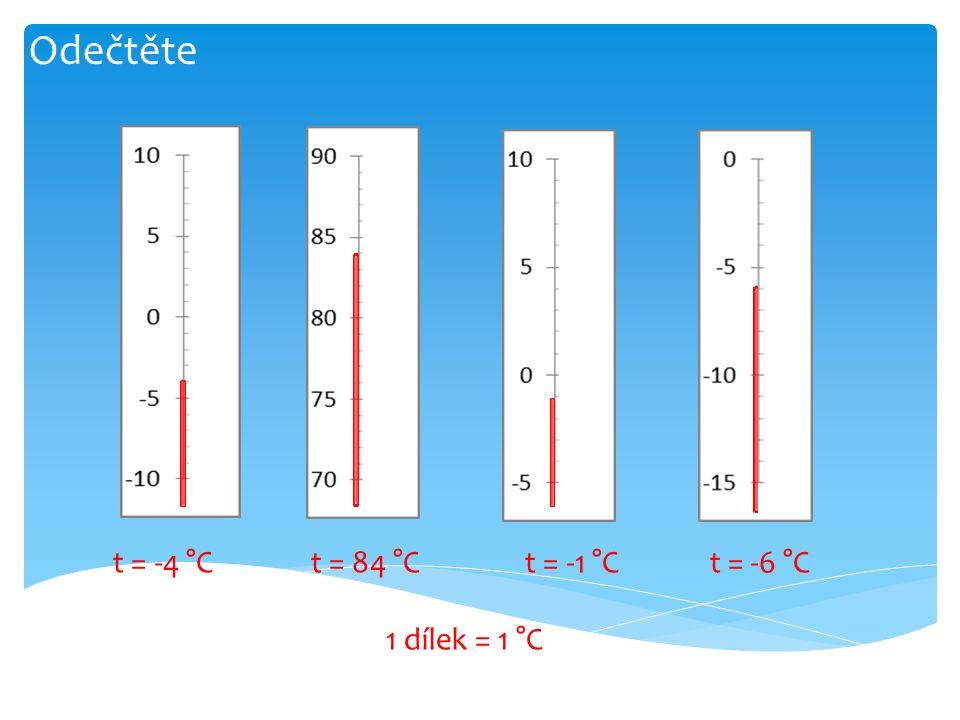 Odečtěte t = -4 °C t = 84 °C t = -1 °C t = -6 °C 1 dílek = 1 °C