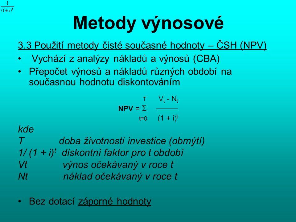 Metody výnosové 3.3 Použití metody čisté současné hodnoty – ČSH (NPV) Vychází z analýzy nákladů a výnosů (CBA) Přepočet výnosů a nákladů různých období na současnou hodnotu diskontováním T V t - N t NPV =   t=0 (1 + i) t kde T doba životnosti investice (obmýtí) 1/ (1 + i) t diskontní faktor pro t období Vt výnos očekávaný v roce t Nt náklad očekávaný v roce t Bez dotací záporné hodnoty