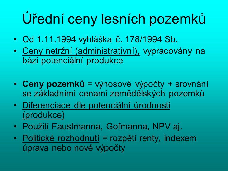 Úřední ceny lesních pozemků Od 1.11.1994 vyhláška č.