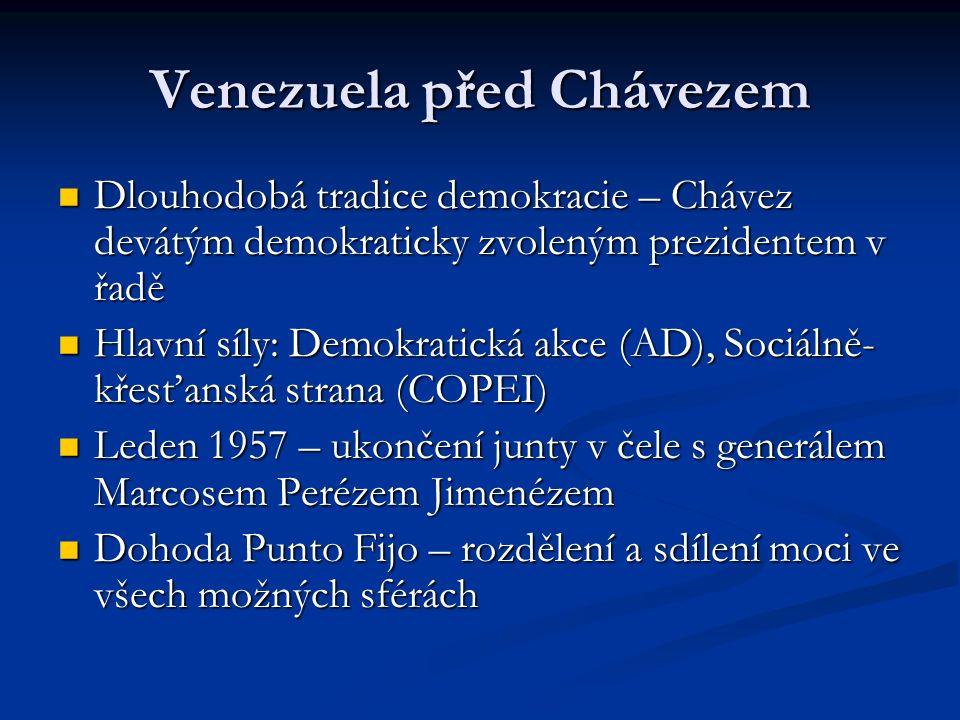 Venezuela před Chávezem Dlouhodobá tradice demokracie – Chávez devátým demokraticky zvoleným prezidentem v řadě Dlouhodobá tradice demokracie – Chávez devátým demokraticky zvoleným prezidentem v řadě Hlavní síly: Demokratická akce (AD), Sociálně- křesťanská strana (COPEI) Hlavní síly: Demokratická akce (AD), Sociálně- křesťanská strana (COPEI) Leden 1957 – ukončení junty v čele s generálem Marcosem Perézem Jimenézem Leden 1957 – ukončení junty v čele s generálem Marcosem Perézem Jimenézem Dohoda Punto Fijo – rozdělení a sdílení moci ve všech možných sférách Dohoda Punto Fijo – rozdělení a sdílení moci ve všech možných sférách