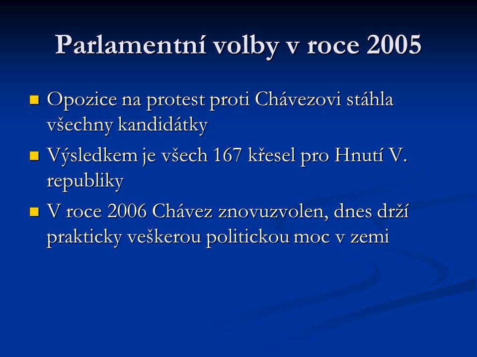 Parlamentní volby v roce 2005 Opozice na protest proti Chávezovi stáhla všechny kandidátky Opozice na protest proti Chávezovi stáhla všechny kandidátky Výsledkem je všech 167 křesel pro Hnutí V.