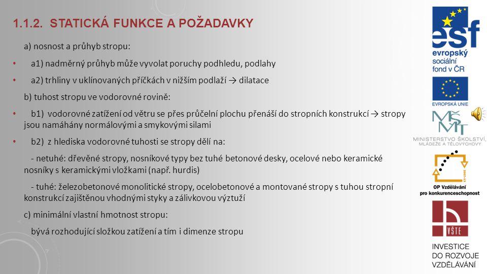 ZÁKLADNÍ FUNKCE STROPNÍCH KONSTRUKCÍ 1.1.1.