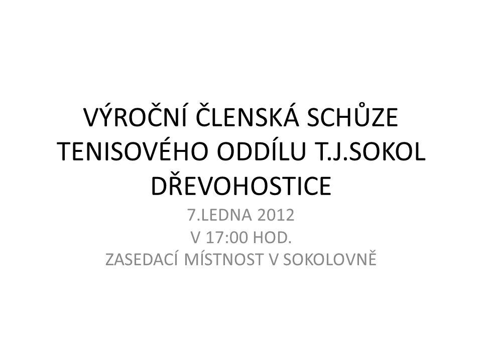 VÝROČNÍ ČLENSKÁ SCHŮZE TENISOVÉHO ODDÍLU T.J.SOKOL DŘEVOHOSTICE 7.LEDNA 2012 V 17:00 HOD. ZASEDACÍ MÍSTNOST V SOKOLOVNĚ