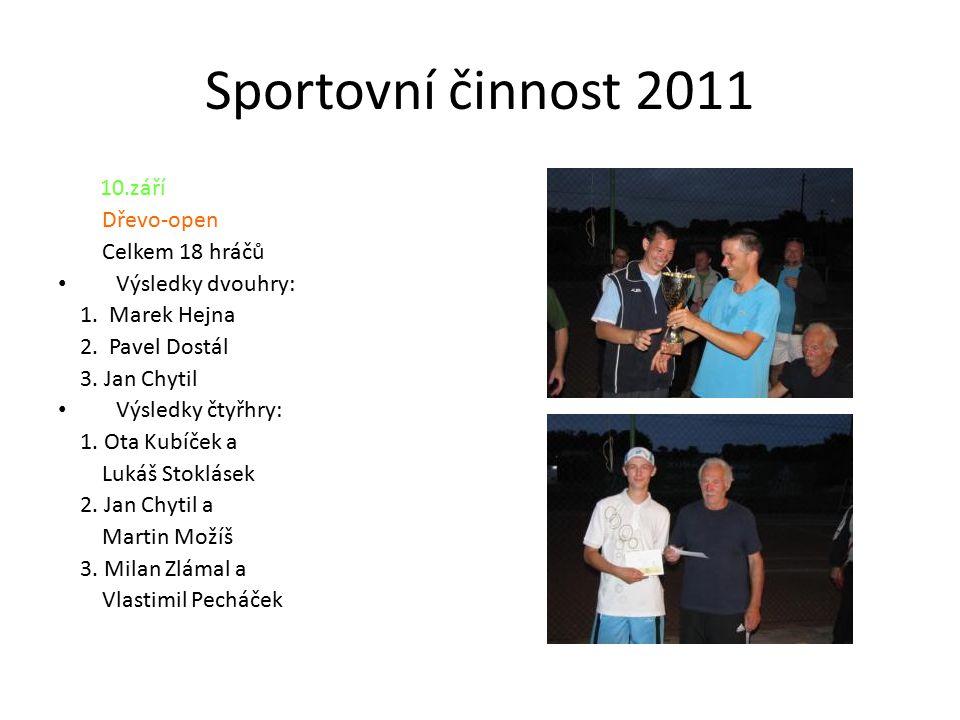 Sportovní činnost 2011 10.září Dřevo-open Celkem 18 hráčů Výsledky dvouhry: 1.