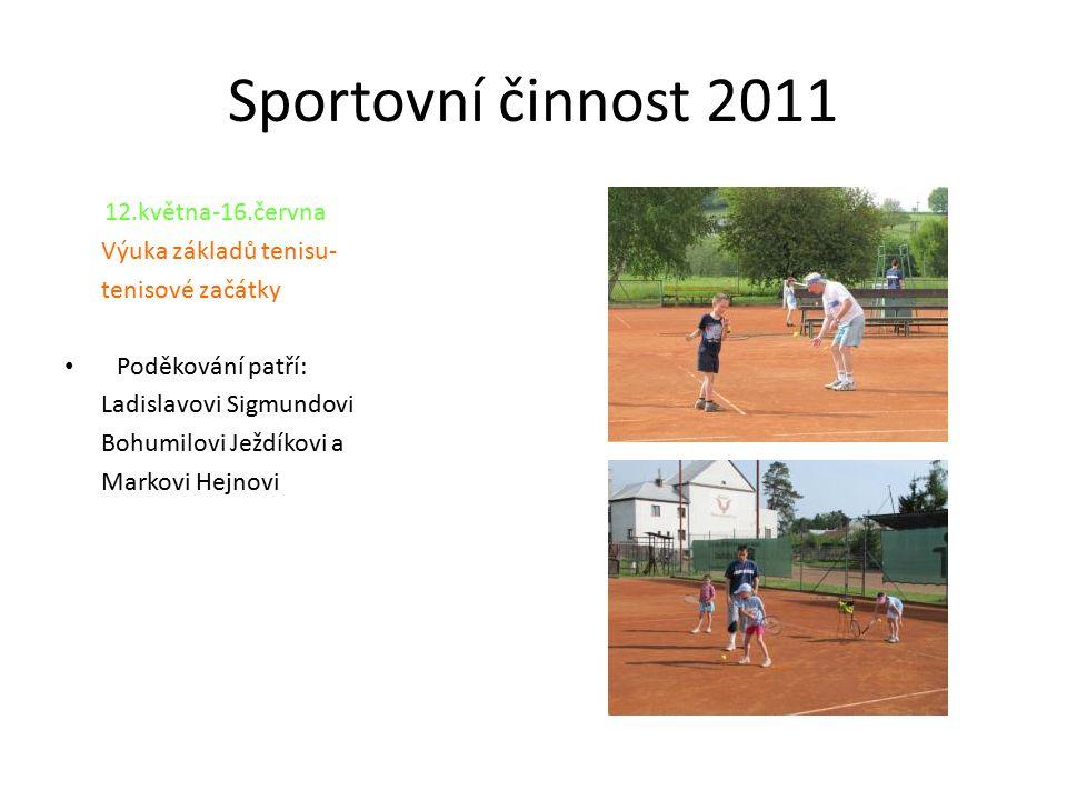 Sportovní činnost 2011 12.května-16.června Výuka základů tenisu- tenisové začátky Poděkování patří: Ladislavovi Sigmundovi Bohumilovi Ježdíkovi a Mark