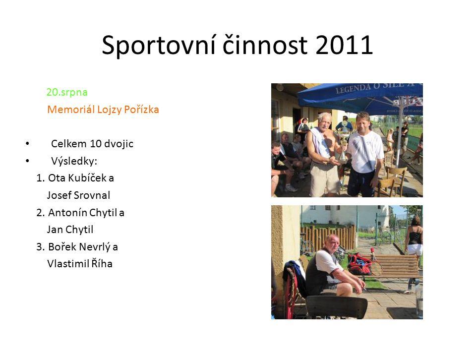 Sportovní činnost 2011 20.srpna Memoriál Lojzy Pořízka Celkem 10 dvojic Výsledky: 1.
