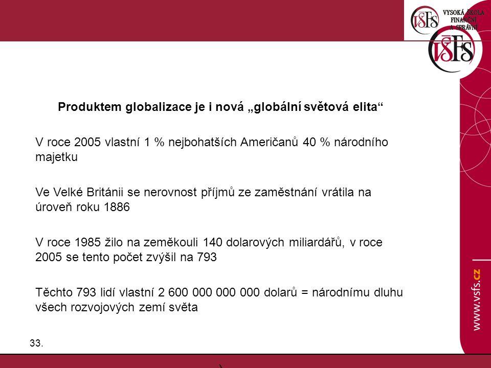 """33. Produktem globalizace je i nová """"globální světová elita"""" V roce 2005 vlastní 1 % nejbohatších Američanů 40 % národního majetku Ve Velké Británii s"""