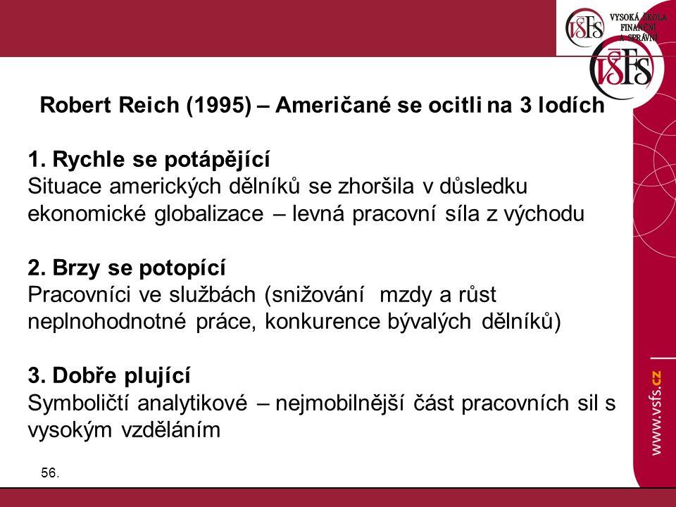 56. Robert Reich (1995) – Američané se ocitli na 3 lodích 1. Rychle se potápějící Situace amerických dělníků se zhoršila v důsledku ekonomické globali