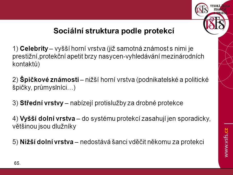65. Sociální struktura podle protekcí 1) Celebrity – vyšší horní vrstva (již samotná známost s nimi je prestižní,protekční apetit brzy nasycen-vyhledá