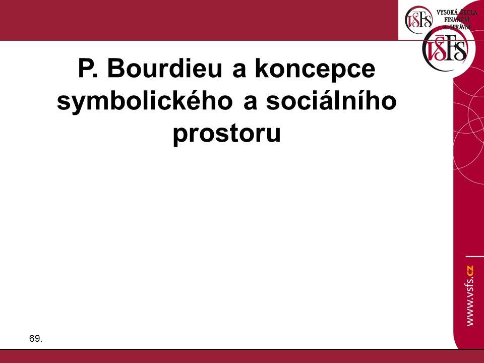69. P. Bourdieu a koncepce symbolického a sociálního prostoru