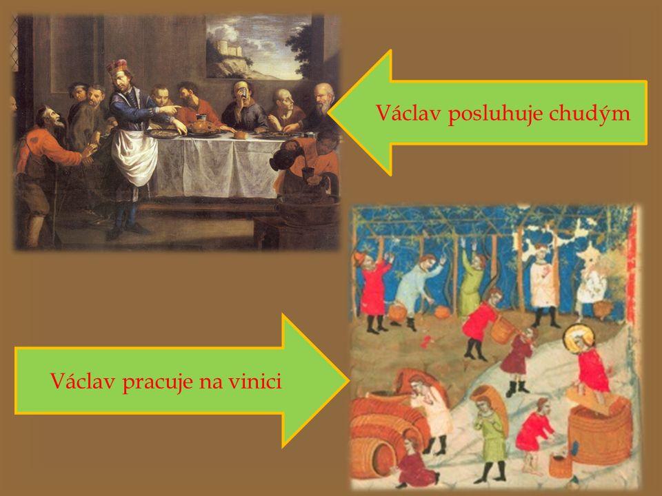 Václav posluhuje chudým Václav pracuje na vinici