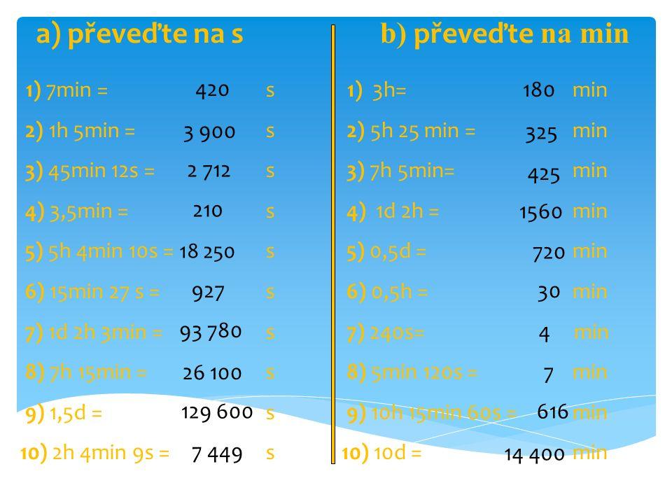1) 7min = s 2) 1h 5min = s 3) 45min 12s = s 4) 3,5min = s 5) 5h 4min 10s = s 6) 15min 27 s = s 7) 1d 2h 3min = s 8) 7h 15min = s 9) 1,5d = s 10) 2h 4min 9s = s 420 3 900 2 712 210 18 250 927 93 780 26 100 129 600 7 449 1) 3h= min 2) 5h 25 min = min 3) 7h 5min= min 4) 1d 2h = min 5) 0,5d = min 6) 0,5h = min 7) 240s= min 8) 5min 120s = min 9) 10h 15min 60s = min 10) 10d = min 180 325 425 1560 720 30 4 7 616 14 400 a) převeďte na s b) převeďte na min