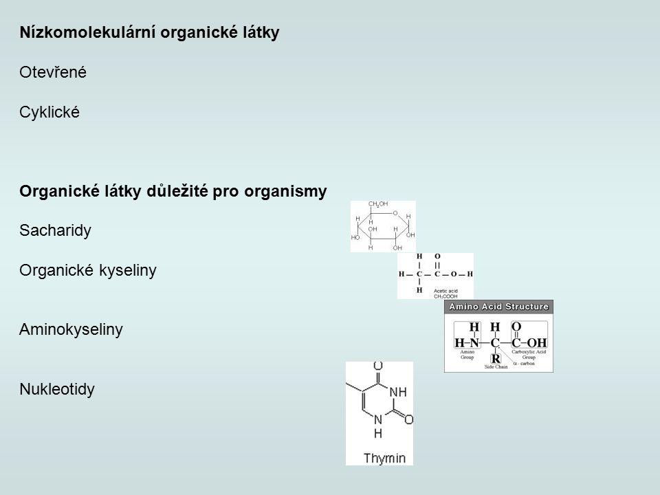 Nízkomolekulární organické látky Otevřené Cyklické Organické látky důležité pro organismy Sacharidy Organické kyseliny Aminokyseliny Nukleotidy