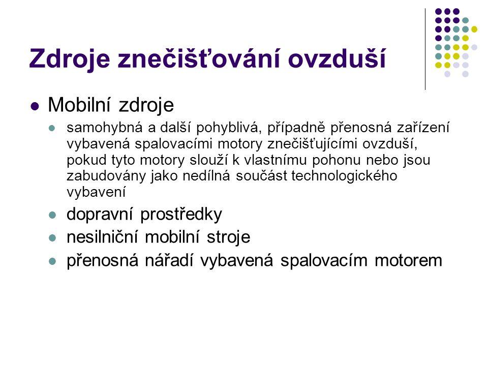 Zdroje znečišťování ovzduší Mobilní zdroje samohybná a další pohyblivá, případně přenosná zařízení vybavená spalovacími motory znečišťujícími ovzduší, pokud tyto motory slouží k vlastnímu pohonu nebo jsou zabudovány jako nedílná součást technologického vybavení dopravní prostředky nesilniční mobilní stroje přenosná nářadí vybavená spalovacím motorem