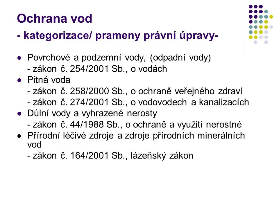 Ochrana vod - kategorizace/ prameny právní úpravy- Povrchové a podzemní vody, (odpadní vody) - zákon č.