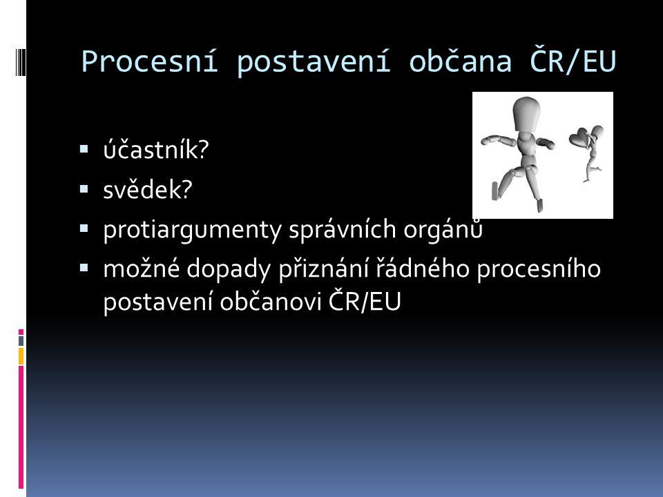 Procesní postavení občana ČR/EU  účastník?  svědek?  protiargumenty správních orgánů  možné dopady přiznání řádného procesního postavení občanovi