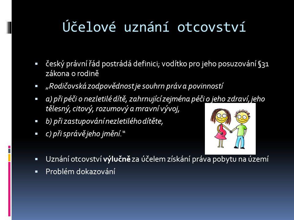 """Účelové uznání otcovství  český právní řád postrádá definici; vodítko pro jeho posuzování §31 zákona o rodině  """"Rodičovská zodpovědnost je souhrn pr"""