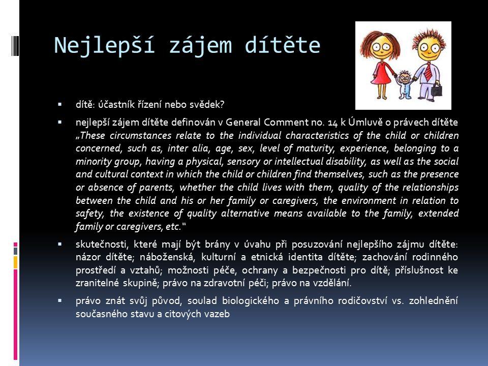 """Nejlepší zájem dítěte  dítě: účastník řízení nebo svědek?  nejlepší zájem dítěte definován v General Comment no. 14 k Úmluvě o právech dítěte """"These"""