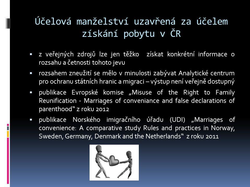 Účelová manželství uzavřená za účelem získání pobytu v ČR  z veřejných zdrojů lze jen těžko získat konkrétní informace o rozsahu a četnosti tohoto je