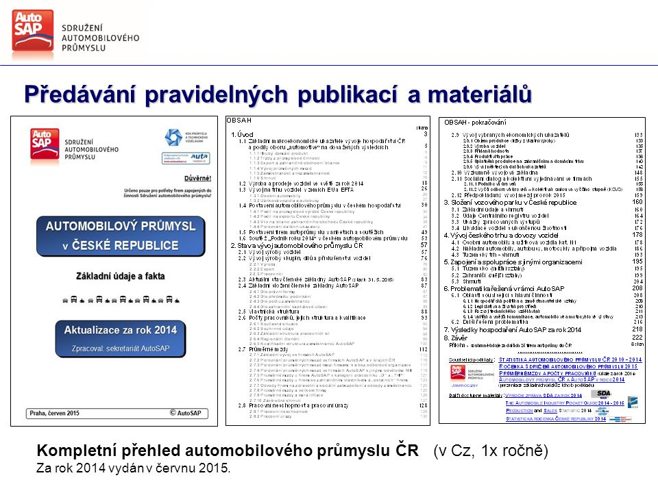 Předávání pravidelných publikací a materiálů Kompletní přehled automobilového průmyslu ČR (v Cz, 1x ročně) Za rok 2014 vydán v červnu 2015.