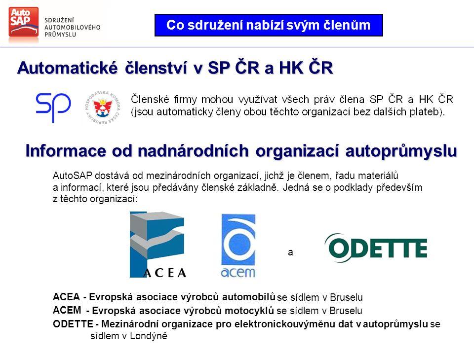 Automatické členství v SP ČR a HK ČR Co sdružení nabízí svým členům Informace od nadnárodních organizací autoprůmyslu AutoSAP dostává od mezinárodních organizací, jichž je členem, řadu materiálů a informací, které jsou předávány členské základně.