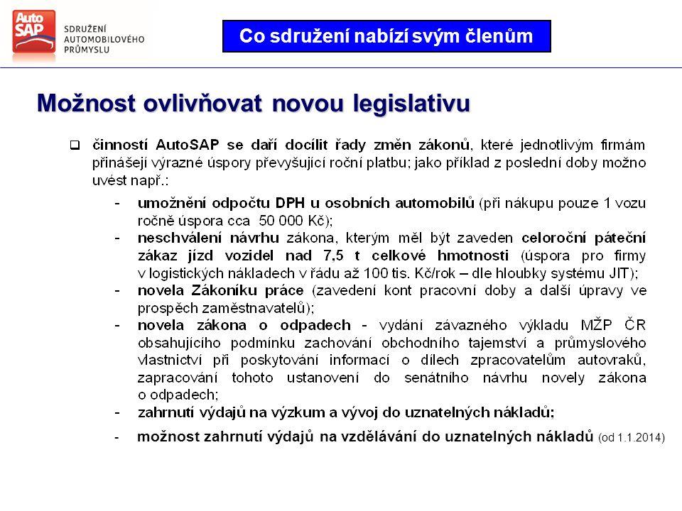 Co sdružení nabízí svým členům Možnost ovlivňovat novou legislativu - možnost zahrnutí výdajů na vzdělávání do uznatelných nákladů (od 1.1.2014)