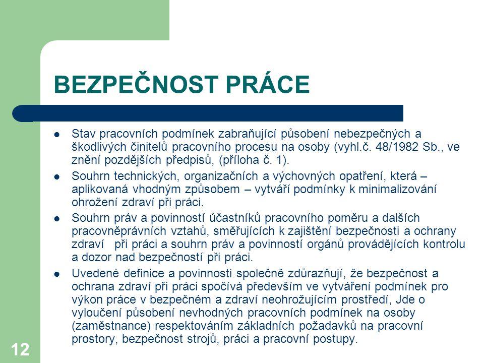 12 BEZPEČNOST PRÁCE Stav pracovních podmínek zabraňující působení nebezpečných a škodlivých činitelů pracovního procesu na osoby (vyhl.č. 48/1982 Sb.,