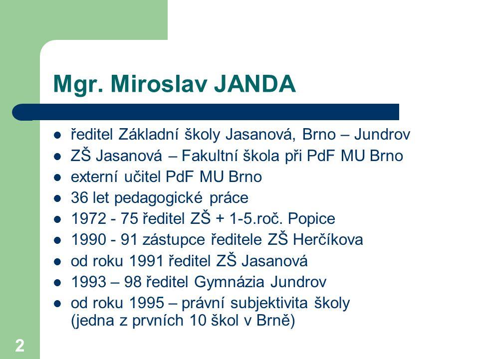2 ředitel Základní školy Jasanová, Brno – Jundrov ZŠ Jasanová – Fakultní škola při PdF MU Brno externí učitel PdF MU Brno 36 let pedagogické práce 197