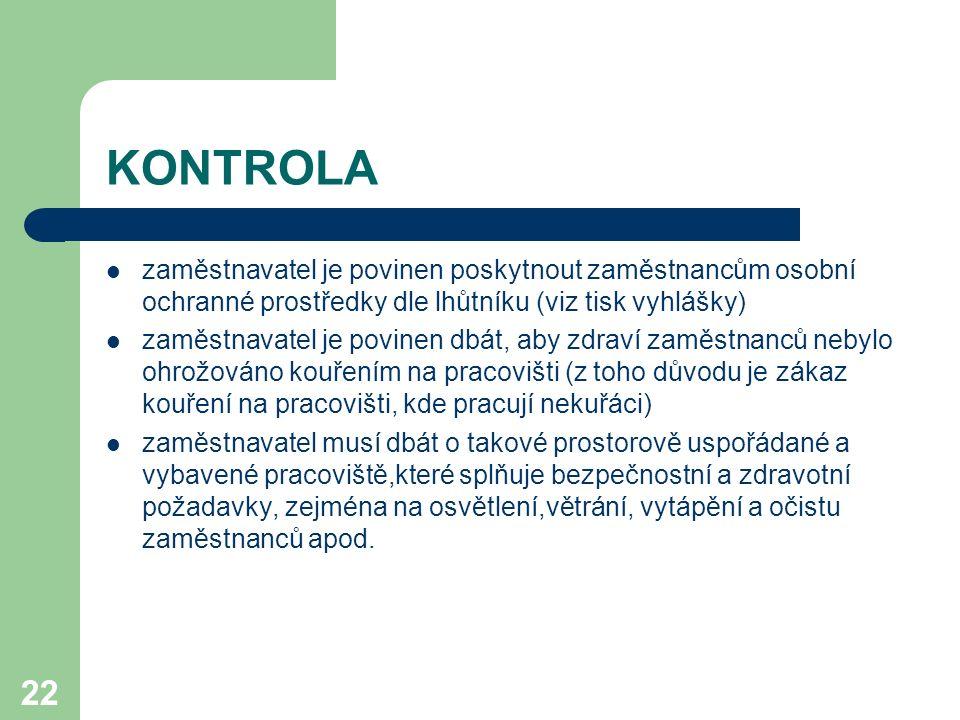 22 KONTROLA zaměstnavatel je povinen poskytnout zaměstnancům osobní ochranné prostředky dle lhůtníku (viz tisk vyhlášky) zaměstnavatel je povinen dbát