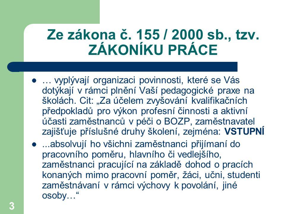 24 PRÁVA A POVINNOSTI ZAMĚSTNANCŮ zákon 155/2000 sb.