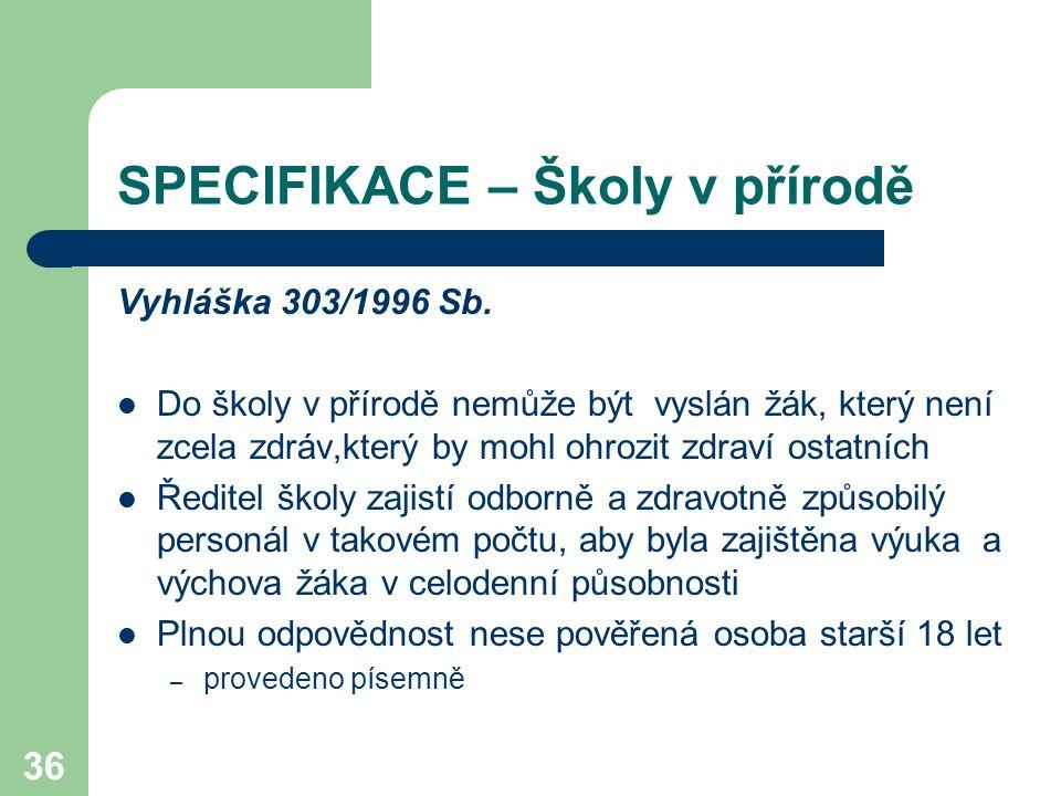 36 SPECIFIKACE – Školy v přírodě Vyhláška 303/1996 Sb. Do školy v přírodě nemůže být vyslán žák, který není zcela zdráv,který by mohl ohrozit zdraví o