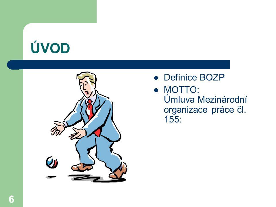 6 ÚVOD Definice BOZP MOTTO: Úmluva Mezinárodní organizace práce čl. 155:
