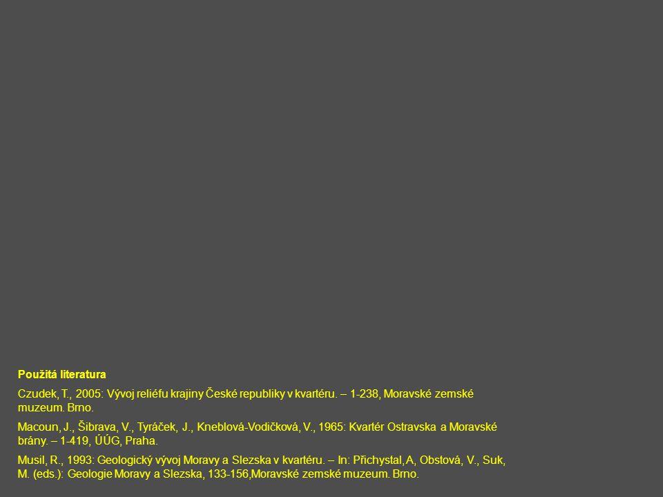 Použitá literatura Czudek, T., 2005: Vývoj reliéfu krajiny České republiky v kvartéru. – 1-238, Moravské zemské muzeum. Brno. Macoun, J., Šibrava, V.,