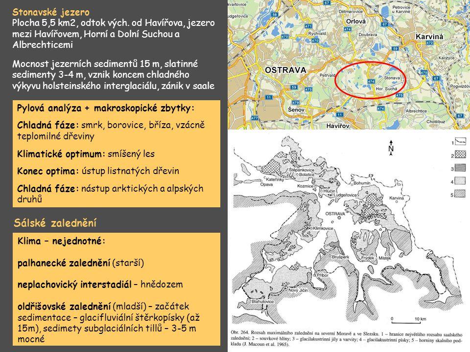 Náporová moréna – Oldřišov, Chlebičov, Chuchelná, Píšť, vznik opavsko- hlučínského jezera, průnik až do depresí Nízkého Jeseníku, Podobné jezero i na Ostravsku.