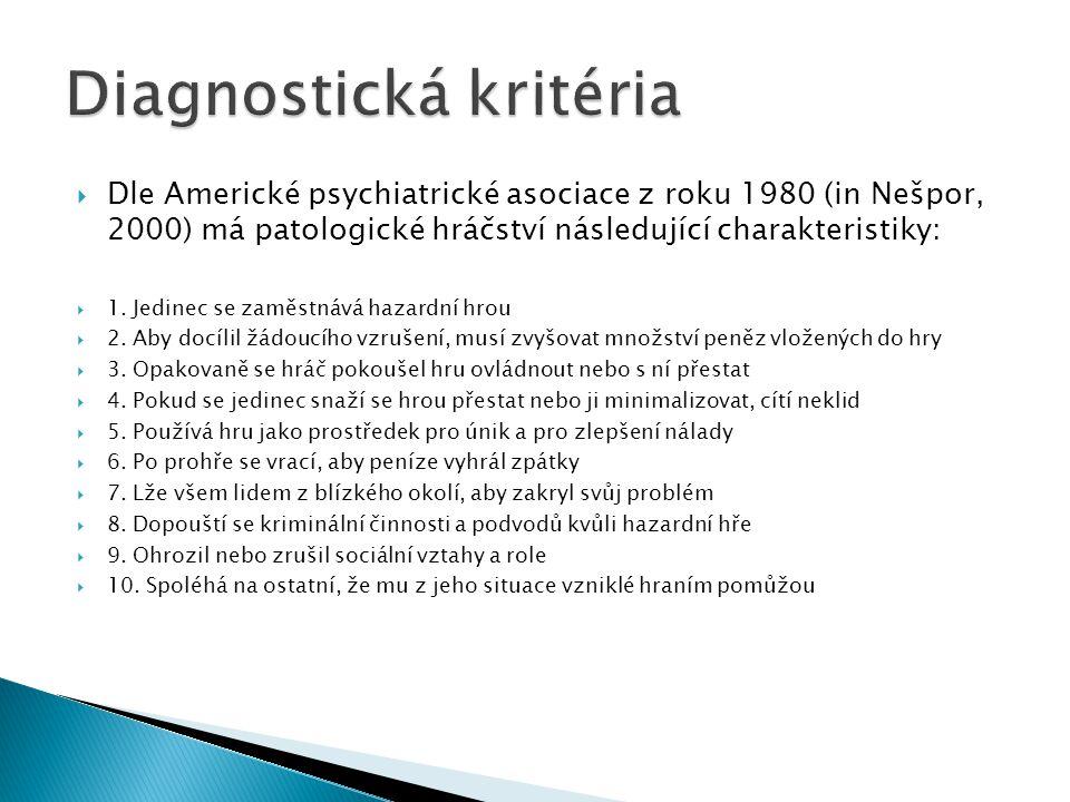  Dle Americké psychiatrické asociace z roku 1980 (in Nešpor, 2000) má patologické hráčství následující charakteristiky:  1. Jedinec se zaměstnává ha