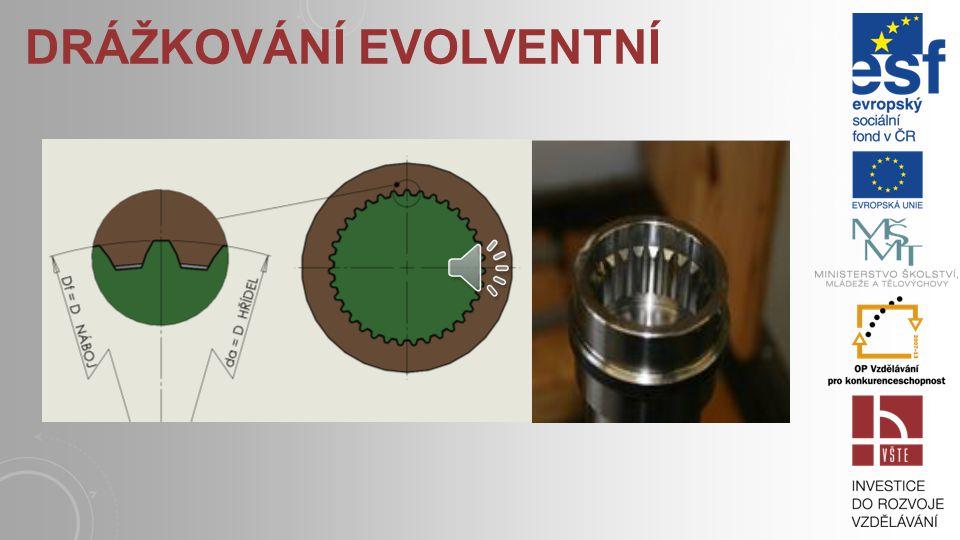 DRÁŽKOVÁNÍ EVOLVENTNÍ U evolventního drážkování se používá středění na boky drážek nebo vnější. Častější je středění na boky drážek, vnější středění p