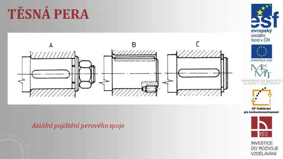 TĚSNÁ PERA Používají k spojení hřídeli s kotoučem, ozubenými kolami, řemenicemi a pod., tj. tam, kde musí byt dodržená souosost a vyloučené osové háze