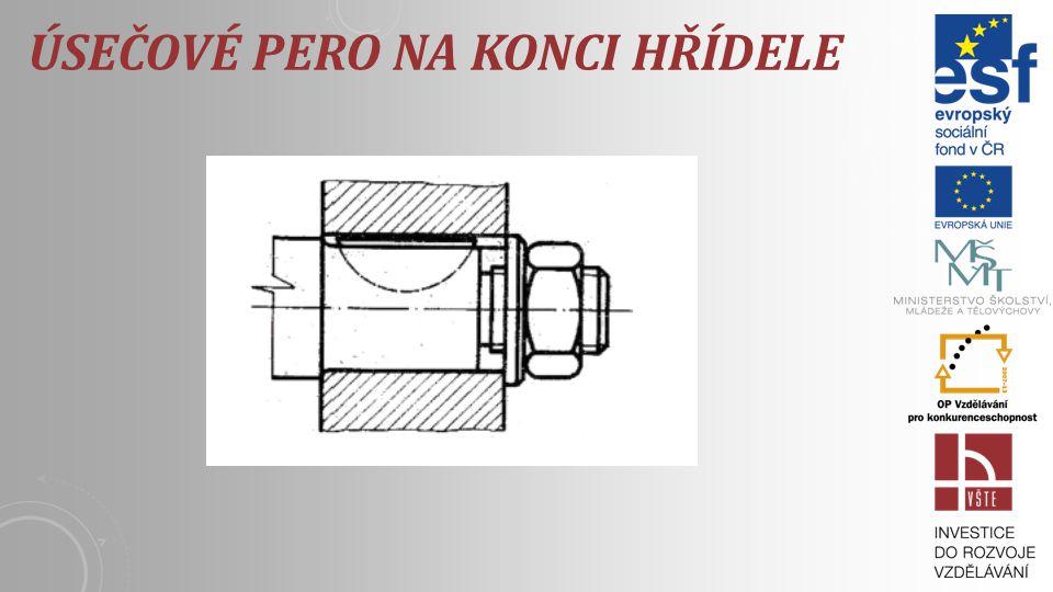 ÚSEČOVÉ PERA - WOODRUFFOVA PERA Používají pro malé krouticí momenty a v případě jestli je náboj umístněný na konci hřídele. Úsečové pero vyžaduje velk