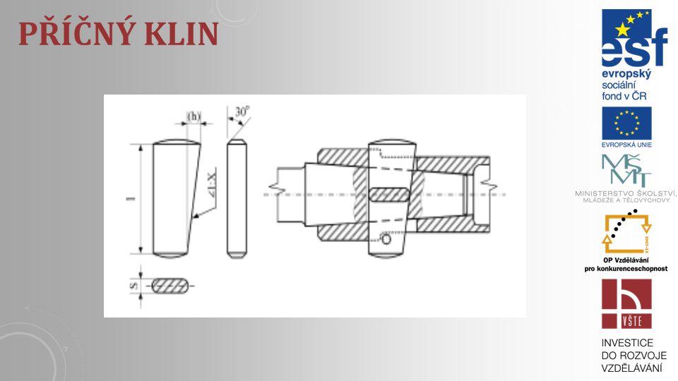 PŘÍČNÉ KLINY Příčné kliny se používají na axiální spojeni strojných součástek zatažených velkými tahovými anebo tlakovými silami, tj. silami kolmými n