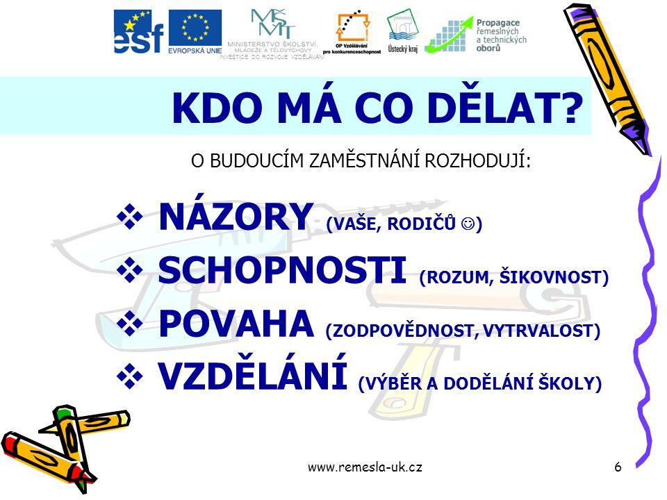 www.remesla-uk.cz6 KDO MÁ CO DĚLAT.
